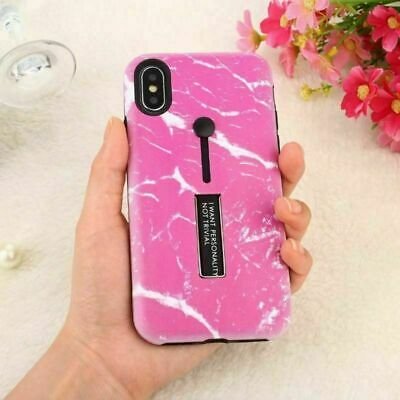 Shockproof Marble Ring Holder Kickstand Hard Case Cover For iPhone X 8 7 6S Plus
