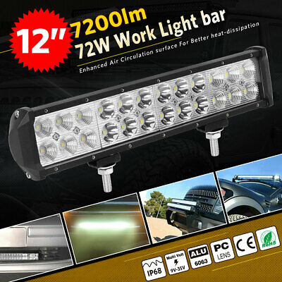 12inch 72W LED Light Bar Work SPOT FLOOD Combo Beam 4WD CAR ATV