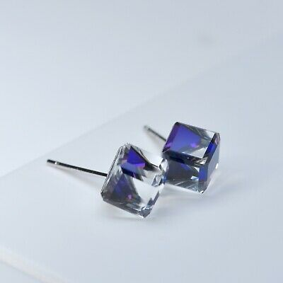 925 Sterling Silver stud made with Swarovski crystal magic cube classic earrings