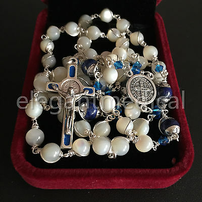 Silver Mother of Pearl & Lapis lazuli Bead Rosary necklace Italy Cross Box Gifts
