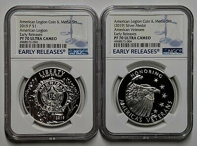 2019 American Legion Silver Dollar & Medal Set NGC PF70 UC Early Releases