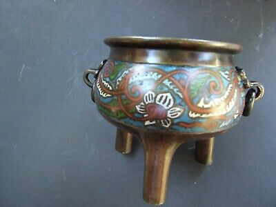 Antique Chinese Bronze Cloisonne Censer Incense Burner Character Marks Base Rare