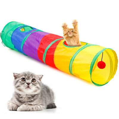 Funny Pet Tunnel Cat Play Rainbown Tunnel Foldable 2 Holes Cat Kitten Toy HOT##