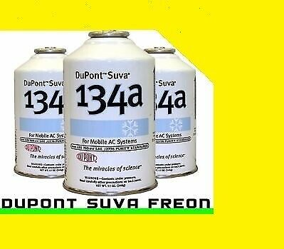 3 Cans R134A R134 (12 Oz) Dupont Suva Refrigerant Freon Made In Usa L5