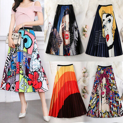 Womens Loose Vintage 50s Rockabilly Holiday A Line Swing Skirt Party Long Dress