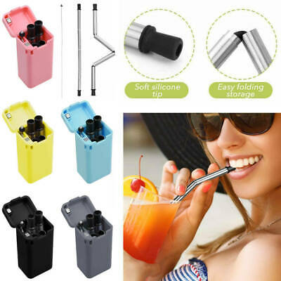 Reusable Collapsible Drinking Straws Stainless Steel Metal Straw Foldable + Case