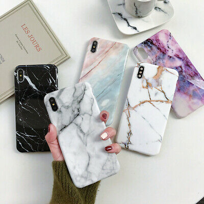 iPhone XR XS Max 7 6 8 Plus Marble Shockproof Silicone Protective TPU Case Cover