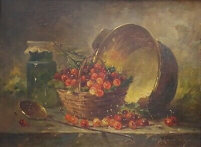 Still Life Oil Painting, Original French Antique Painting, Signed Langlois