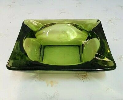 """Amber Green Glass Ashtray """"Small Size"""" 1970S Vintage Retro Collectable"""