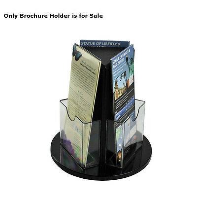 Styrene Clear Trifold 3 Sided Brochure Holder 5W x 9H Inches with Revolving Base
