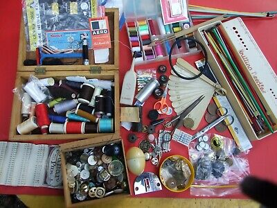 Estate Sewing Collectables Buttons Cottons Needles Old Junk Drawer lot