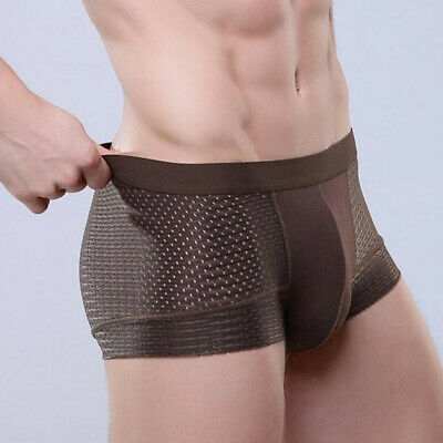 Men Shorts Mesh popular Underwear Ice silk Hollow Comfortable Sexy Breathable