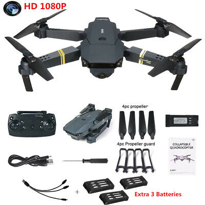 2.4G RC Drone Pro WIFI FPV 2MP HD Camera Foldable RC Quadcopter + 4 Batteries