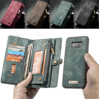 Leather Purse Wallet Case For Samsung S9+ Note 8 iPhone Magnetic Removable Cover
