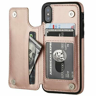 iPhone XR XS Max 7 8 Shockproof Magnetic Leather Card Holder Wallet Case Cover