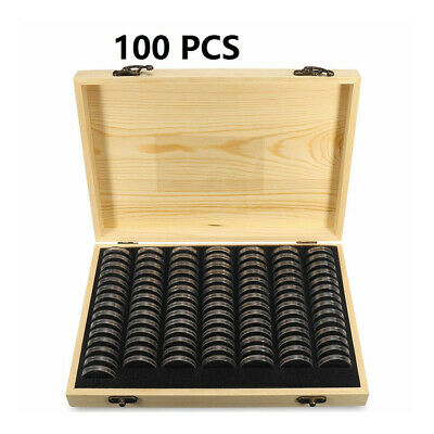 Wooden Coins Display Storage Box Case for Collectible Coin With 50/100 Capsules