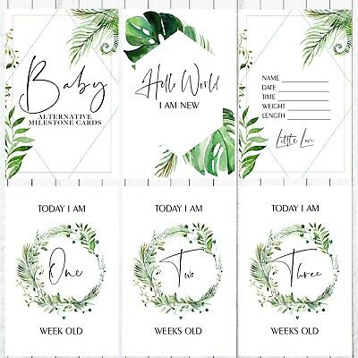 Baby Alternative Milestone Cards, 4x6 Photo Prop, 35 Cards,