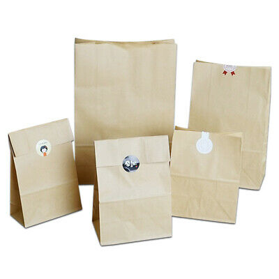 Stand Up Brown Kraft Paper Bags Wedding Party Bread Snack Gift Storage Package