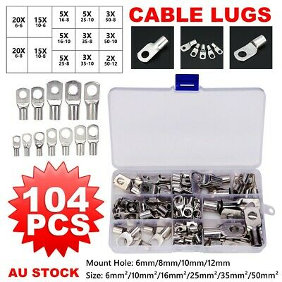 104×Cable Lugs TINNED 4WD Copper Lug  Crimper Connector Kits Battery Terminal AU