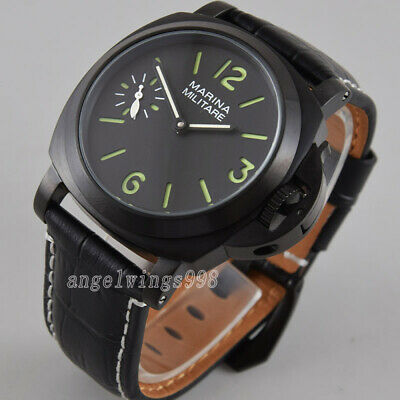 Parnis 44mm black dial hand winding 6497 Asia movement watch Militär PVD case