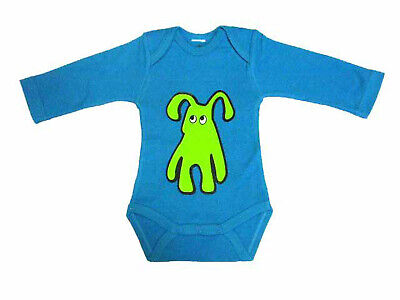 Baby Body Kalle Fux Handmade Hand Printed Turquoise Animal Dog Green Size 80