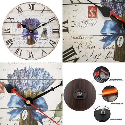 Retro Wooden Wall Clock Large Vintage Rustic Colorful Non Ticking Silent Quiet D
