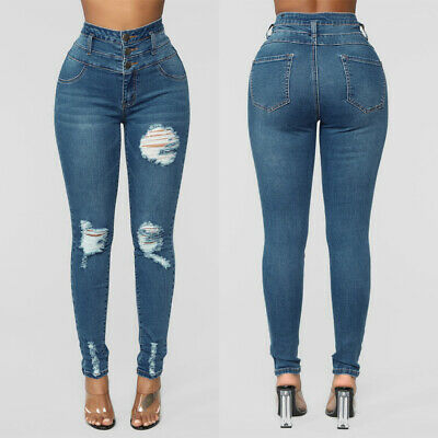 Womens High Waisted Ripped Jeans Ladies Skinny Jeggings Denim Trousers Size12-20