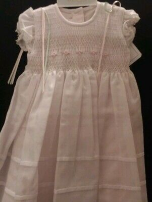 NWT Beautiful Will/'Beth White and Yellow Smocked Angel Sleeve Bishop 18M 24M