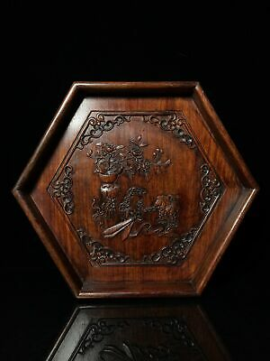 """14"""" Chinese old Antique huanghuali wood handcarved flowers tea plate D3"""
