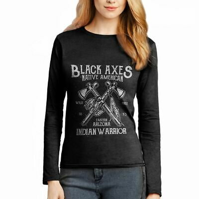 Black Axes American Native Indian Warrior Wild Free Chief  Womens T-Shirt A015LS