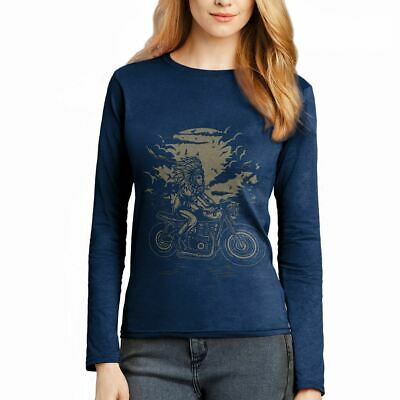 Indian Chief Rider Motorcycles Native American Warrior Axe Womens T-Shirt A546LS