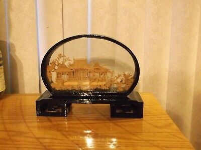 Vintage Asian Chinese Hand Carved Cork Diorama Scene Glass with Birds Crane