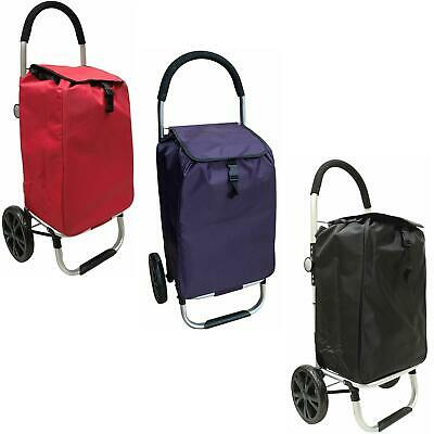2 Wheel Lightweight Deluxe Shopping Trolley with back pocket Extra Large Wheels