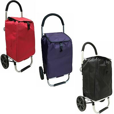 2 Wheels Deluxe Shopping Trolley with back pocket & Extra Large Wheels