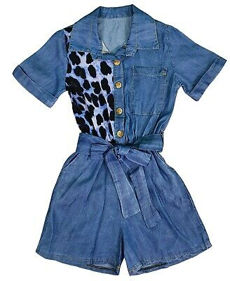 Kids Girls Denim Look Shirt Playsuit Jumpsuit Romper Outfit  Age 4-14 Years