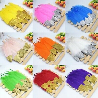 Gold or Silver Glitter Tip Goose Feathers 15-20cm Fly Craft Hat Arts Decorations