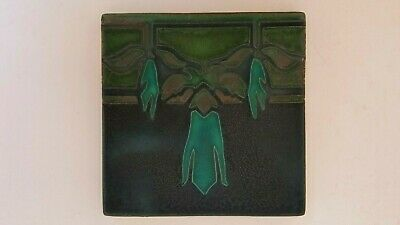 "Motawi Art Nouveau Arts & Crafts Tile Green 5.75"" Ann Arbor Mi"