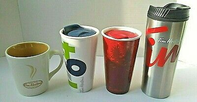 Tim Hortons Lot of 4 Ceramic Stainless Steel Travel Cups Mugs Tumblers Pristine