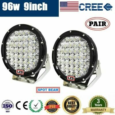 Pair 9inch 96w LED Driving Light Round Spotlight Bar Offroad 4WD Lamp 185W
