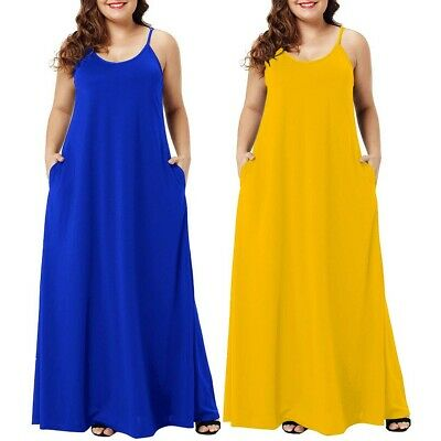 Plus Size Womens Casual V Neck Sleeveless Pockets Solid Ankle Length Party Dress
