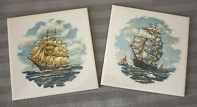2 Vintage H&R Johnson Tiles, Ship / Nautical / Sailing Design