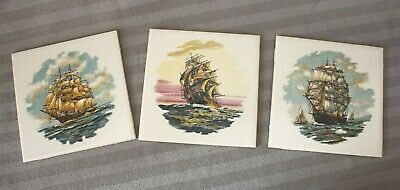 3 Vintage H&R Johnson Tiles, Ship / Nautical / Sailing Design