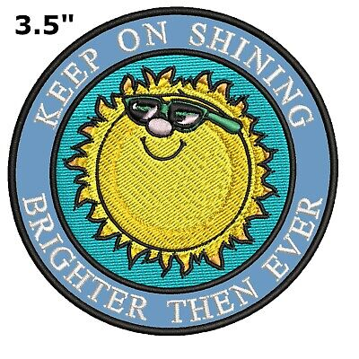 KEEP ON SHINING Embroidered Patch Sun Happy Cool Sunglasses Souvenir Travel BoHo