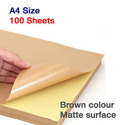 100 x Blank A4 Self Adhesive KRAFT Brown Sticker Paper Silhouette Craft Sheets