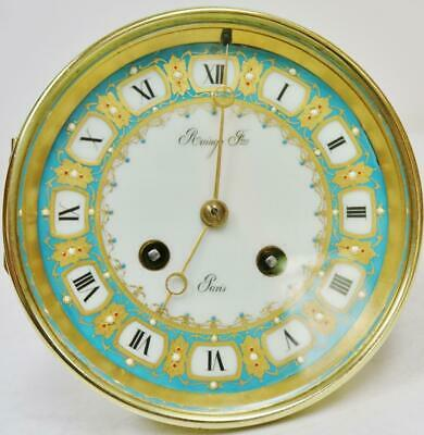 Fully Serviced Antique French 8Day Striking Clock Movement Sevres Porcelain Dial