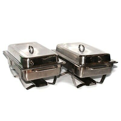 2 Piece Catering Stainless Steel Food Chafing Serving Warmer Dish Trays Set