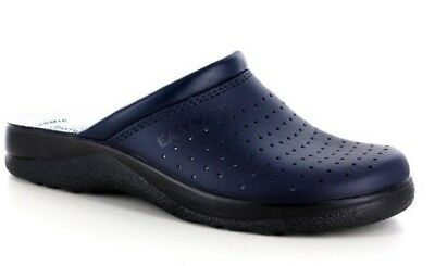 Easy Walk Art. 632 Blue Slippers Clogs Man Perforated Real Leather Made in Italy