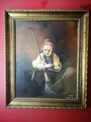 Stunning Oil Painting Of 19th Century Street Sweeper - Signed & Framed