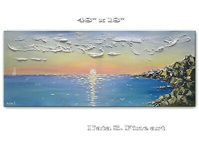Seascape Painting Beach Scene Sunrise Ocean Painting Palette Knife Art by Nata S