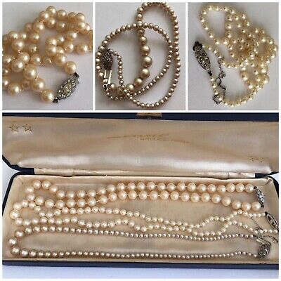 546cb3a0b491f3 Job Lot Vintage Art Deco Cultured Pearl Necklaces w/ Silver Marcasite Clasps  x3